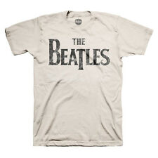 The Beatles Distressed Band Logo Licensed Adult T-Shirt - Tan -