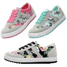 Women Canvas Sneakers Floral Print Lace Up Girls Shoes Blue Pink Black US5.5-7.5