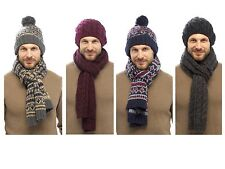 Mens Luxury Fairisle Cable Knit Slouch Beanie Bobble Hat + Scarf Gift Set Winter