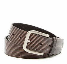 JOHN VARVATOS STAR USA more sizes  Brown Stripe Leather Belt $75 msrp - NWT