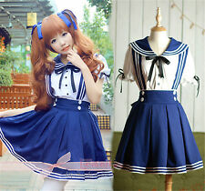 Girls Maidservant Costume Cosplay Kostüm School Uniform Sailor Fancy Dress WSJ28