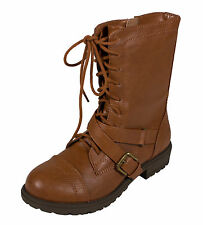 MASK 2! Soda Kid's Girls Military Lace Up Combat Boots in Cognac
