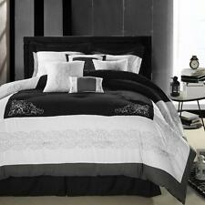 Florence Black & White Comforter Bed In A Bag Set 8 Piece