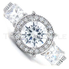 Ladies 14K White Gold Fn Lab Diamond Solitaire Princess Engagement Bridal Ring
