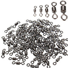 100Pcs Lot Size Fishing Barrel Rolling Swivel Solid Rig Rings LB Lures Connector