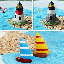 Lighthouse Yacht Miniature Garden Dollhouse Craft Plant Flower Pot Bonsai Decor