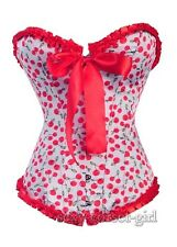 Sexy White Red Rockabilly Cherry Corset Pinup Size S-2XL Punk Lace Top SCG A2503
