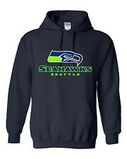 Seattle Seahawks Logo Hooded Sweatshirt (Sizes Youth S - Adult 5XL)
