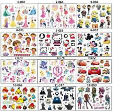 "NEW TEMPORARY TATTOOS CARTOON CHARACTER STICKERS 15-25 ON 4.5""x6"" SHEET FOR KIDS"