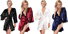 Women Luxury Nightdress Satin Lace Kimono Sleepwear Lingerie Dressing Gown Robe