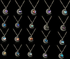 Hot Sale!Ladies Galaxy Universe Crescent Moon Resin Cabochon Pendant Necklace