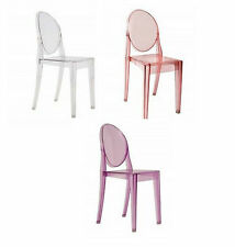 Ghost style Plastic Chair With No Arms Clear Red Purple Transparent