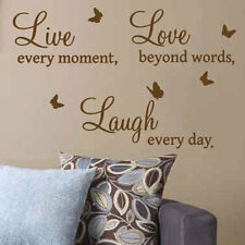 Live Love Laugh Butterfly Art Wall Quote Stickers Wall Decal, Words Lettering