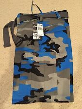 """NWT Men's Regal Wear Blue Gray Camouflage Camo Cargo Pants ALL SIZE 32"""" length"""