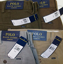 NWT POLO RALPH LAUREN FLAT FRONT CLASSIC FIT CHINO TWILL KHAKI PANTS $85 4 COLOR
