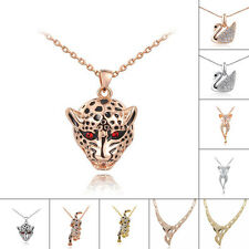 Multi Designs Leopard Swan Fox 18K Yellow Gold Gp Animal Necklace Pendant Chain