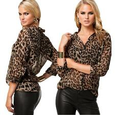Women Casual Leopard Print Chiffon Tops Shirt Button Down Collar Loose Blouse