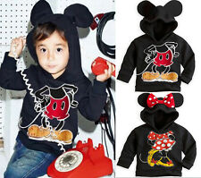 Baby Kids Girls Boys Mickey Minnie Mouse Shirts Hooded Sweater Hoodies 2015 1-6T