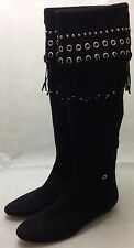 Gianmarco Lorenzi Couture Black suede flat boots with tassels & studs. RRP £790
