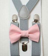 Kids Boys Gray Suspenders & Pastel Pink Cotton Bow tie SET 8 mon-13Years