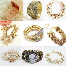 Fashion Charm Women Lots Style Gold Rhinestone Bangle Cuff Bracelet Jewelry