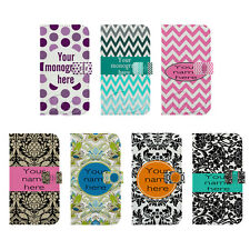 Custom DIY Name Damask Pattern On Stand PU Leather Hard Case For SamsungS3 S4 S5