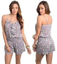 New Women Sexy Casual Purple Rose Flower Party  Playsuit Romper Jumpsuit Shorts