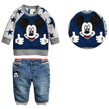Fashion Mickey Mouse Outfits Baby Kids Boys Tops Sweatshirt Jeans 2pcs set 0~5Y