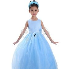 BLUE TULLE FLOWER GIRL DRESS CHILDREN PAGEANT PARTY DRESS SIZE 2 3 4 5 6 7 8 9