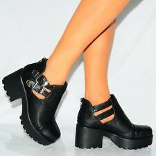 WOMENS BLACK CHUNKY PLATFORMS ANKLE BOOTS BUCKLE ELASTIC SHOES SIZE 3 4 5 6 7 8