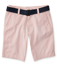 aeropostale mens belted classic flat-front shorts
