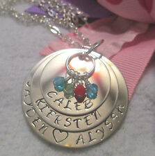Mother's Birthstone Personalized Necklace Son Daughter Hand Stamped Names Child