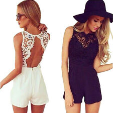 Women Sleeveless Lace Backless Short Pants Jumpsuit Romper Playsuit Lovely