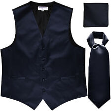 New Men's navy blue formal vest Tuxedo Waistcoat ascot & hankie set prom