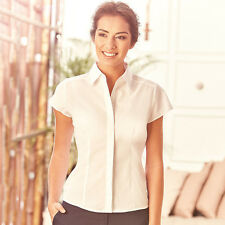 Womens Ladies Fitted Poplin Shirt Polycotton Cap Sleeve Work Casual By Russell