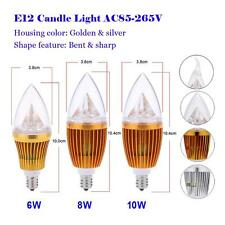 E12 6W 8W 10W High power LED Candle Bulb Chandelier Lamp Spotlight White Light