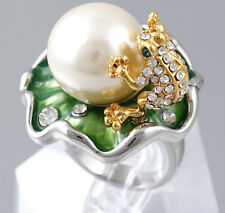 European Style Jewelry Frog On The Lotus Leaf Pearl Metal Plated Ring Size 5.5-9