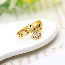 18K Gold Plated Ring Zircon Crystal Rings Heart Pattern Ring Jewelry for Women