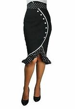 RUFFLES BLACK HIGH WAIST ROCKABILLY PIN UP RUFFLED POLKA DOT PENCIL SKIRT DRESS
