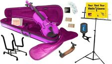 Archetto Metallic Purple Violin with Case, Bow & Accessory Pack - Various Sizes