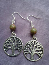 TREE OF LIFE WICCAN PAGAN Sterling Silver Earrings CHOICE OF 12 CHAKRA CRYSTALS!