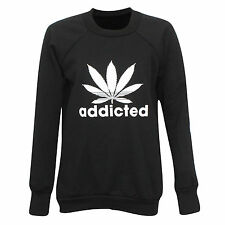Ladies Womens Addicted Print Gym Sport Sweatshirt Jumper Pullover Top Size SM ML
