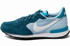 NIKE WOMENS INTERNATIONALIST Blue-White suede running training sneakers new