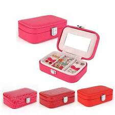 Jewelry Storage Box Leather Women Gift Organizer With Mirror Ring Necklace Case