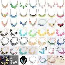Fashion Womens Flower Choker Bib  Collar Chain Pendant Statement Necklace