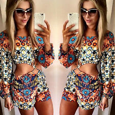 New Vintage Floral Print Long Sleeve Girls Hot Sexy Jumpsuit Playsuit Pant Short