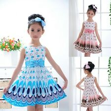 Baby Kids Girls Dress Princess Party Bow Belt Bubble Peacock Dress Clothes 2-7Y