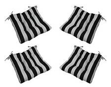 Set of 4 In / Outdoor Black White Stripe Tufted Patio Chair Cushions Choose Size
