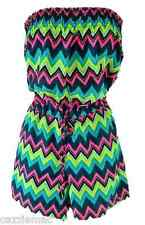 NEW Ladies Beach Playsuit Shorts - Aztec Zigzag Design - Sizes 6 to 20 - BNWT