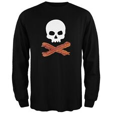 Bacon Skull And Crossbones Black Adult Long Sleeve T-Shirt